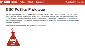 the homepage of my Politics Prototype