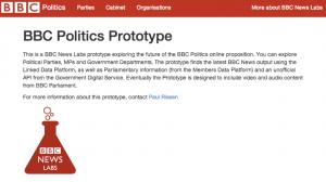 the homepage of my Politics Prototype